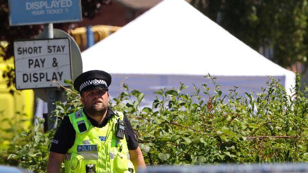 Полицейский на месте перестрелки в Линкольншире, Англия