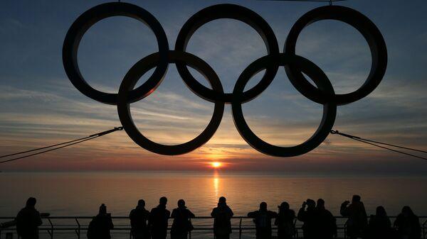 Олимпийские кольца на набережной Адлеровского района Сочи. Архивное фото