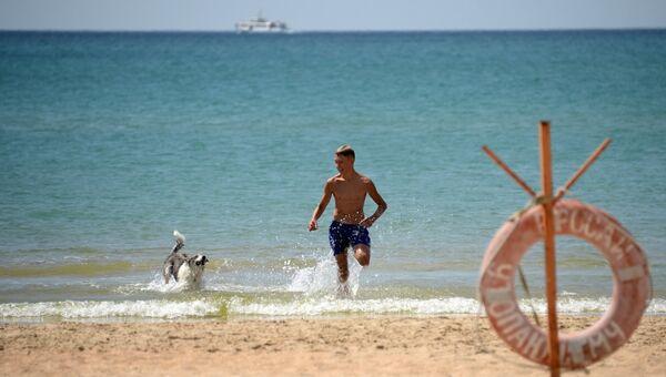 Мужчина с собакой на берегу Черного моря. Архивное фото