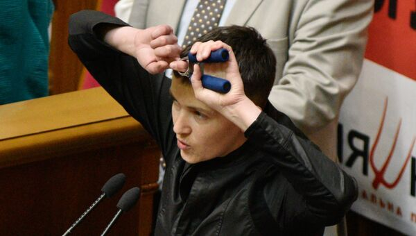 Депутат Верховной рады Украины Надежда Савченко на заседании рады