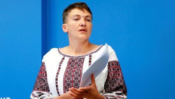 Депутат Верховной рады Надежда Савченко во время пресс-конференции в Киеве, Украина. 2 августа 2016