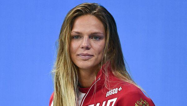 Юлия Ефимова, завоевавшая серебряную медаль на соревнованиях по плаванию на дистанции 100 м брассом на XXXI летних Олимпийских играх
