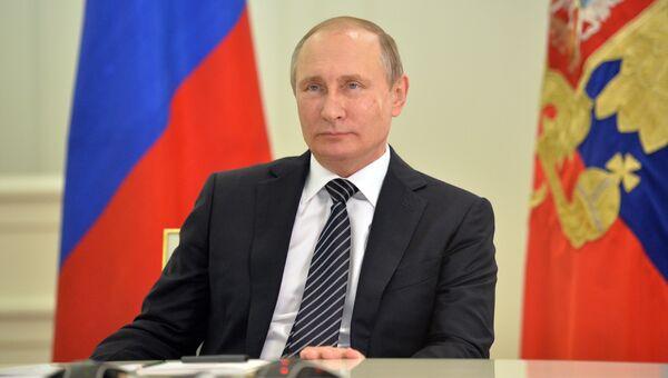 Президент РФ Владимир Путин во время церемонии передачи Индии первого энергоблока АЭС Куданкулам. 10 августа 2016