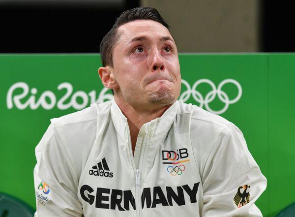 Спортсмен из Германии Андреас Тоба во время квалификации на спортивной гимнастике среди мужчин на Олимпийских играх в Рио-де-Жанейро