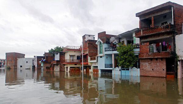 Затопленные дома в Аллахабаде, 19 августа 2016