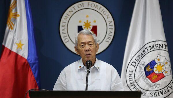 Министр иностранных дел Филиппин Перфекто Ясай во время выступления перед журналистами. 22 августа 2016