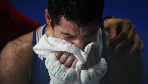 Миша Алоян (Россия) после финального поединка соревнований по боксу на XXXI летних Олимпийских играх