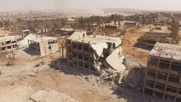 Школа ВВС Сирии в Алеппо после первой волны штурма бойцами сирийской армии. Архивное фото