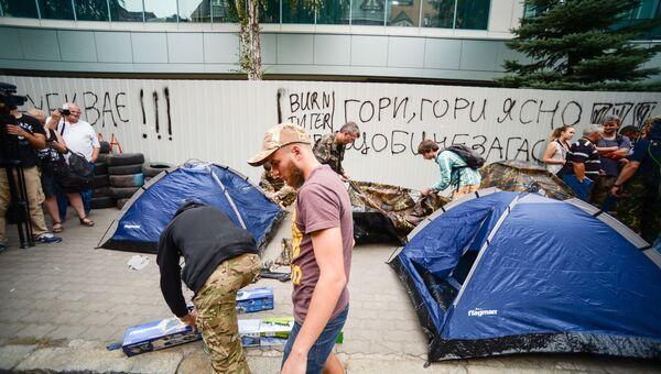 Митинг возле здания телеканала Интер в Киеве