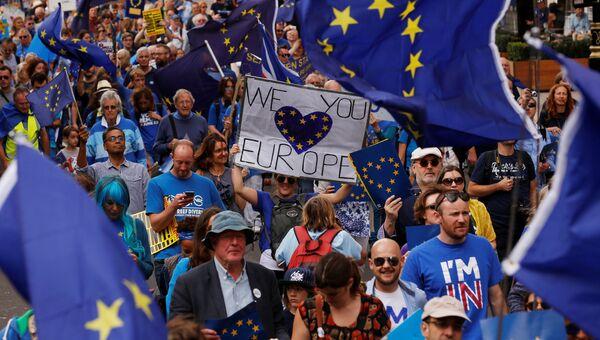 Акция протеста против результатов Brexit в Великобритании. Архивное фото