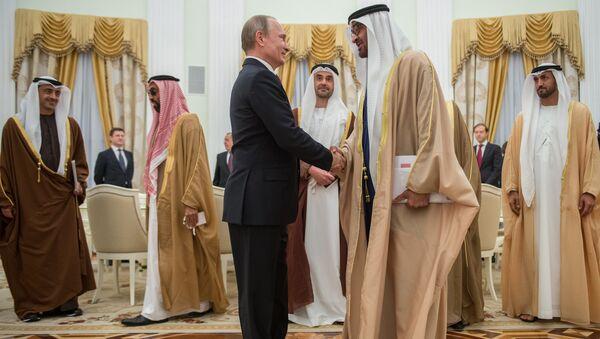 Президент России Владимир Путин и наследный принц Абу-Даби, заместитель верховного главнокомандующего вооружёнными силами Объединённых Арабских Эмиратов Мухаммед Бен Заид Аль Нахайян