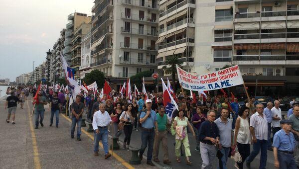 В Салониках прошел антиправительственный митинг