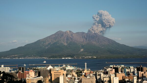 Вулкан Сакурадзима на острове Кюсю