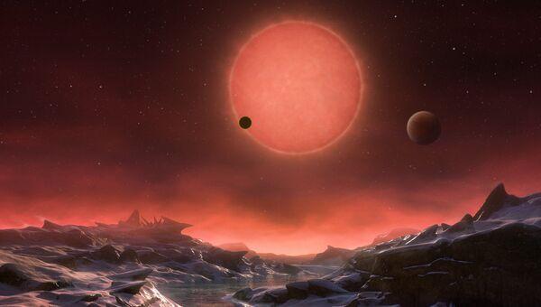 Так художник представил себе планету TRAPPIST-1d и ее две кузины