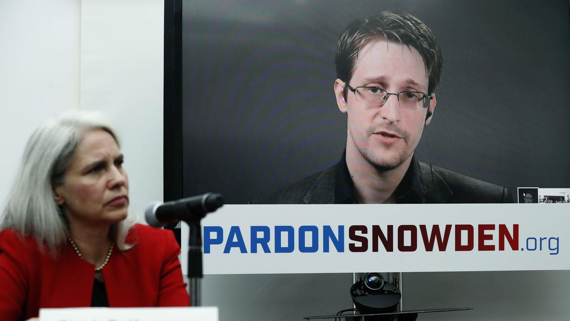 Экс-сотрудник американских спецслужб Эдвард Сноуден во время интерактивной видеоконференции. 14 сентября 2016 - РИА Новости, 1920, 16.08.2020