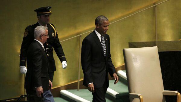 Президент США Барак Обама перед выступлением на заседании Генеральной ассамблеи ООН в Нью-Йорке. 20 сентября 2016