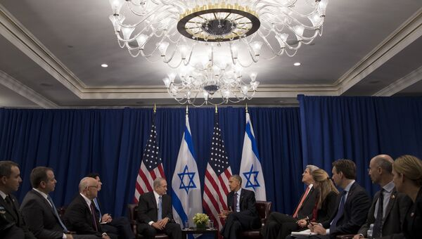 Премьер-министр Израиля Биньямин Нетаньяху и президент США Барак Обама во время встречи в Нью-Йорке. 21 сентября 2016