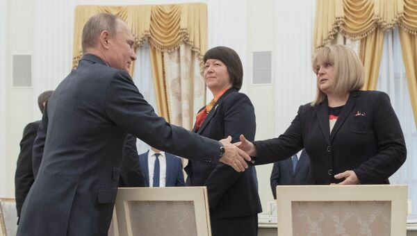 Президент РФ Владимир Путин во время встречи с председателем Центральной избирательной комиссии Эллой Памфиловой. 23 сентября 2016