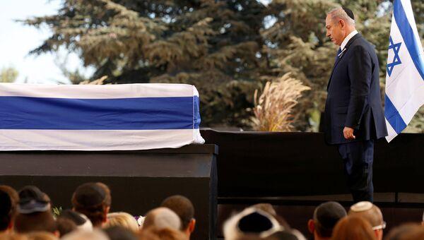 Премьер-министр Израиля Беньямин Нетаньяху на похоронах экс-президента Шимона Переса в Иерусалиме