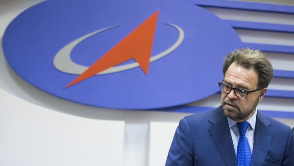 Генеральный директор РКК Энергия Владимир Солнцев на пресс-конференции, посвященной подписанию сделки по проекту Морской старт
