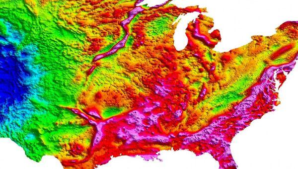 Гравитационная карта США, на которой можно увидеть гигантский разлом
