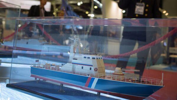 Макет патрульной лодки Мираж 1439 на стенде АО Рособоронэкспорт. Архивное фото