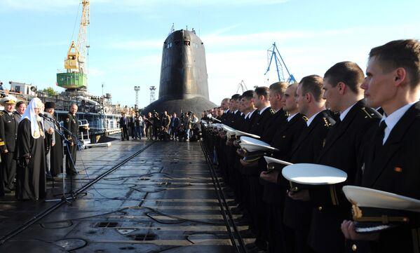 Патриарх Московский и Всея Руси Кирилл посетил подводный крейсер Дмитрий Донской в Северодвинске
