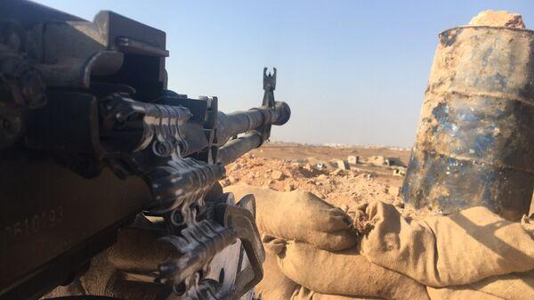 Огневая позиция сирийской армии в районе части ПВО на юге Алеппо. Архивное фото