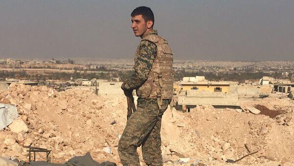 Боец сирийской армии смотрит на город Алеппо с высоты узла мобильной связи к югу от города. Архивное фото