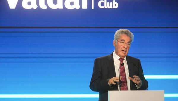 Экс-президент Австрии Хайнц Фишер на заседании Международного дискуссионного клуба Валдай в Сочи