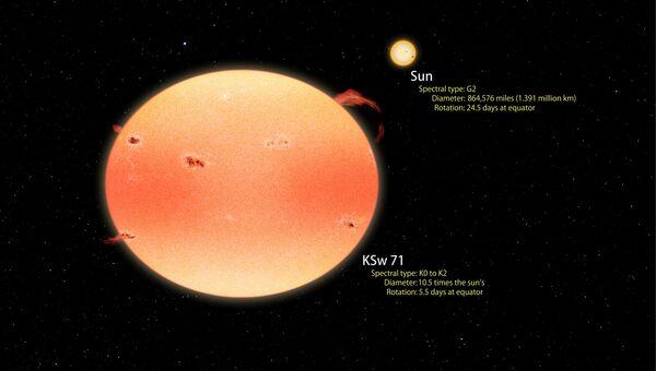 Звезда KSw 71, одно из светил-тыкв, открытых Кеплером