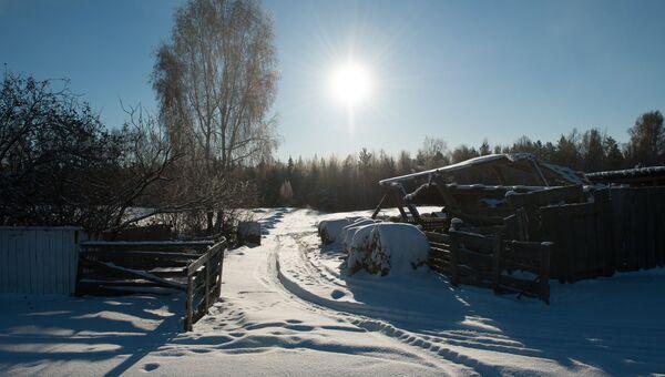 Снег в селе Березовка Томской области. Архивное фото
