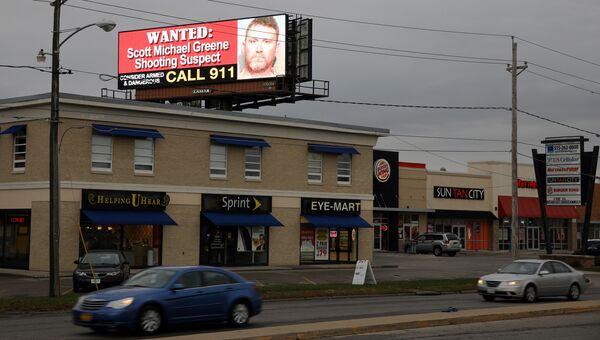 Объявление о розыске подозреваемого у убийстве полицейских в штате Айова, США. 2 ноября 2016