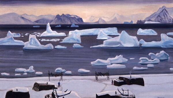 Репродукция картины американского художника и писателя Рокуэлла Кента (1882-1971) Ноябрь в Северной Гренландии