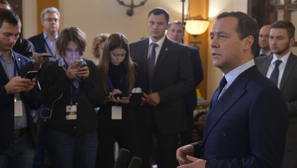 Дмитрий Медведев во время пресс-конференции в Тель-Авиве. 9 ноября 2016