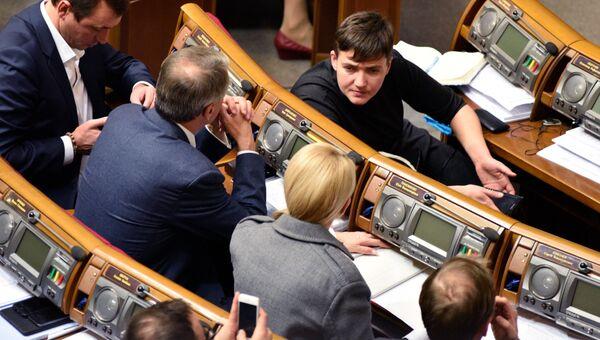 Депутат от партии Батькивщина Надежда Савченко на заседании Верховной рады Украины в Киеве. Архивное фото