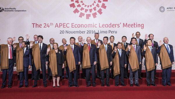 Церемония совместного фотографирования на саммите АТЭС в Лиме. 20 ноября 2016