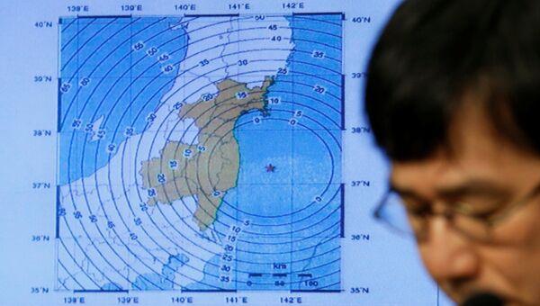 Карта землетрясения в Японии. Архивное фото