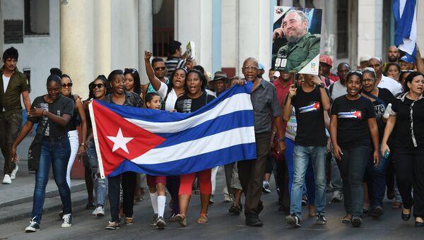 Шествие в память об ушедшем из жизни лидером кубинской революции Фиделе Кастро