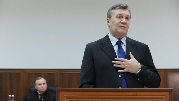 Бывший президент Украины Виктор Янукович дает показания по видеосвязи в Ростовском областном суде. Архивное фото