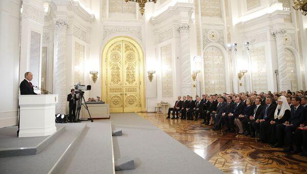 Президент России Владимир Путин выступает с ежегодным посланием Федеральному Собранию. Архивное фото
