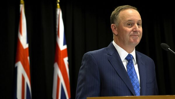 Премьер-министр Новой Зеландии Джон Кей во время пресс-конференции. 5 декабря 2016