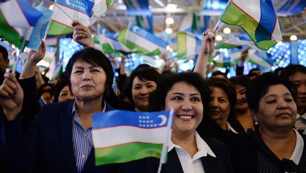 Митинг сторонников партии Узлидеп после выборов президента Узбекистана