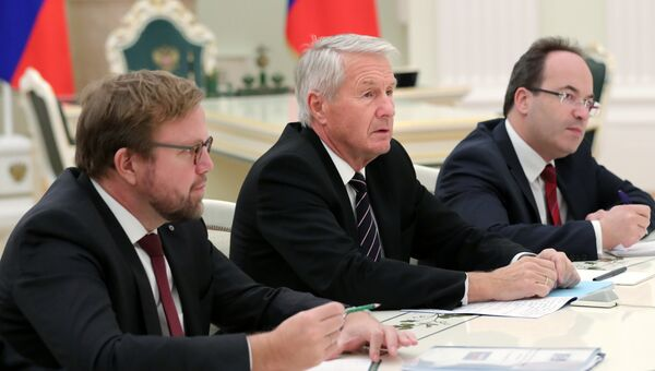 Генеральный секретарь Совета Европы Турбьерн Ягланд во время встречи с президентом РФ Владимиром Путиным. 6 декабря 2016