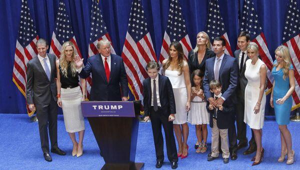 Дональд Трамп со своей семьей