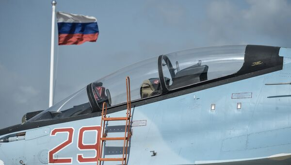 Истребитель ВКС РФ СУ-30 СМ на авиабазе Хмеймим в Сирии. Архивное фото