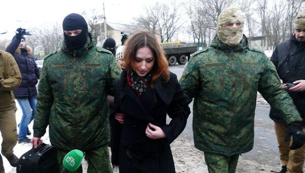 Процедура передачи Анжелики Пресняковой и Ольги Сворак украинской стороне между Донецком и Макеевкой. 27 декабря 2016