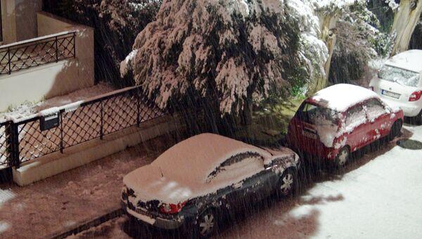 Снегопад в Афинах