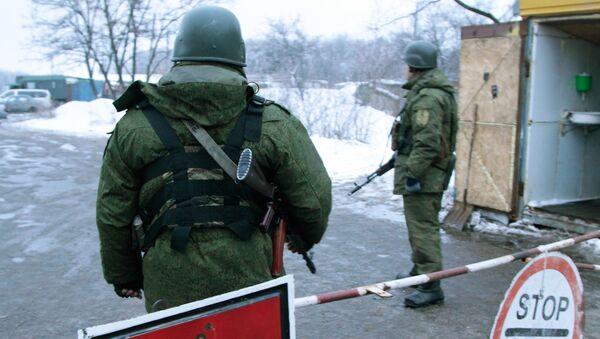Блок-пост на окраине Горловки Донецкой области перед обменом военнопленными между ДНР и Украиной. 29 декабря 2016