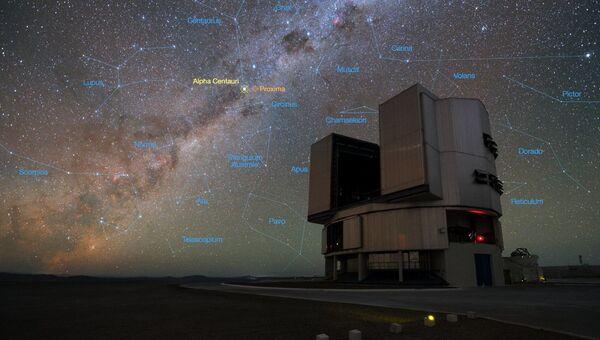 Телескоп VLT на фоне созвездий
